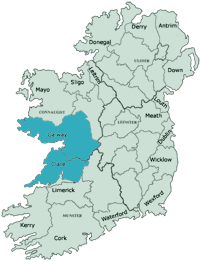Ireland map with outline of of Galway and Clare